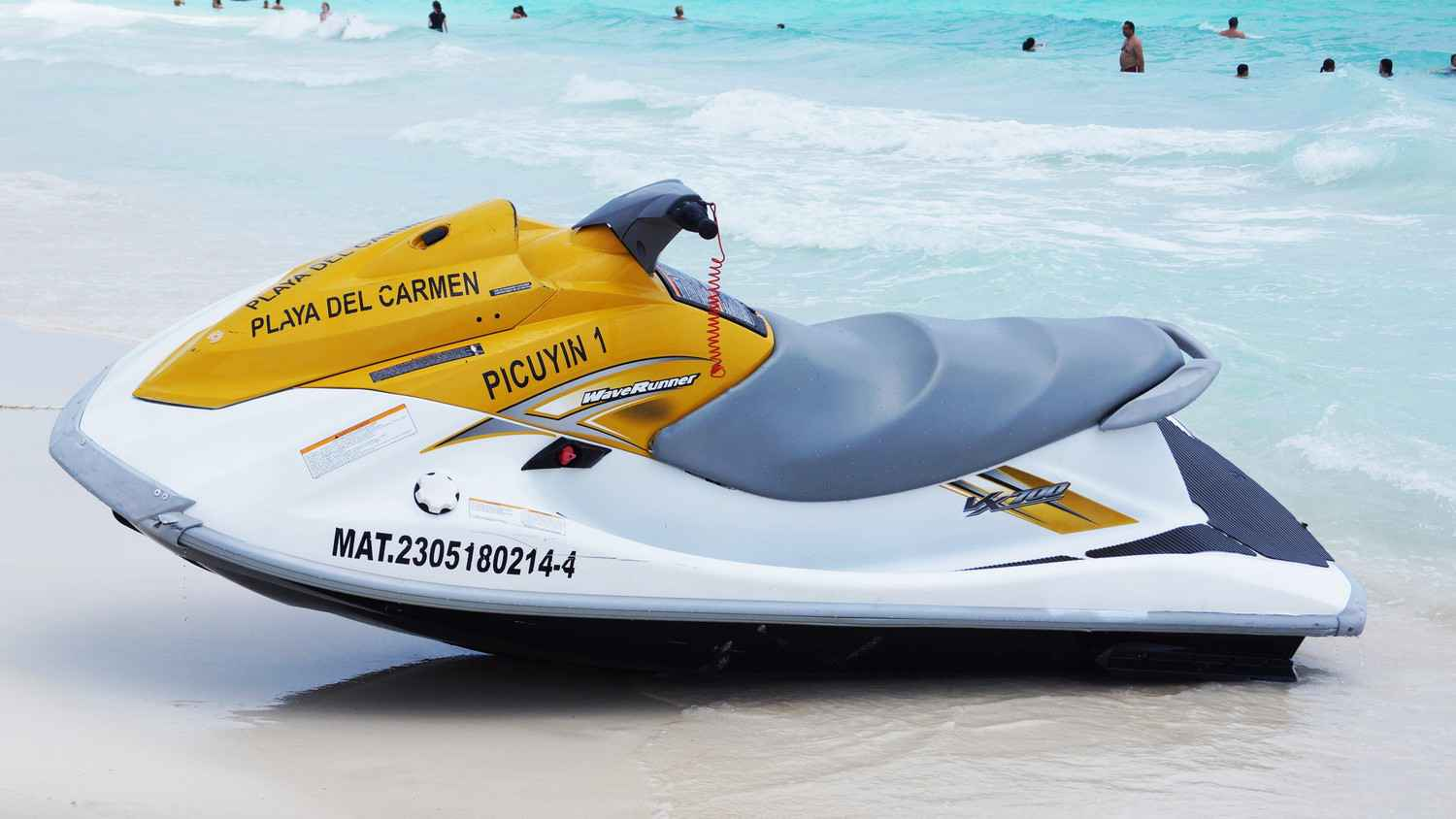 A jet ski for rent on the beach.