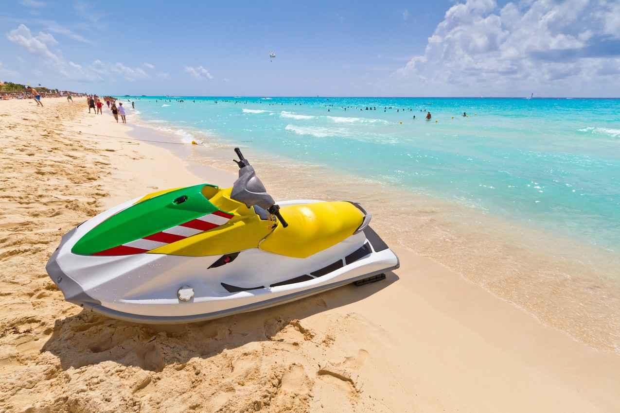 A multicolored jet ski.