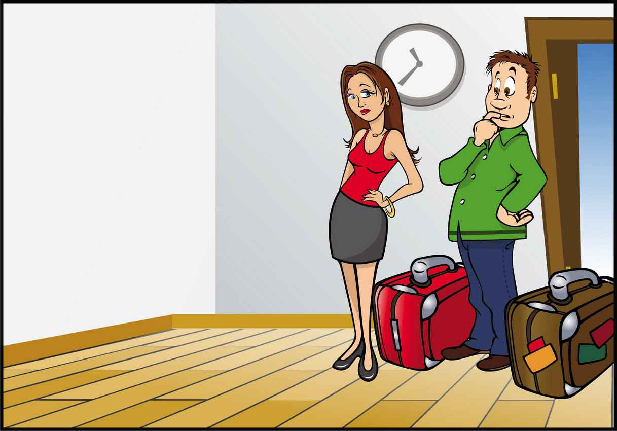 A graphic of a man and a woman with luggage deciding how to arrange their new room.