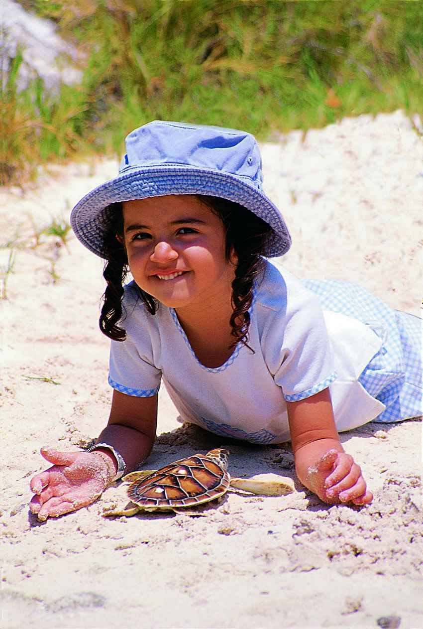 A young girl playing with a sea turtle on the beach.