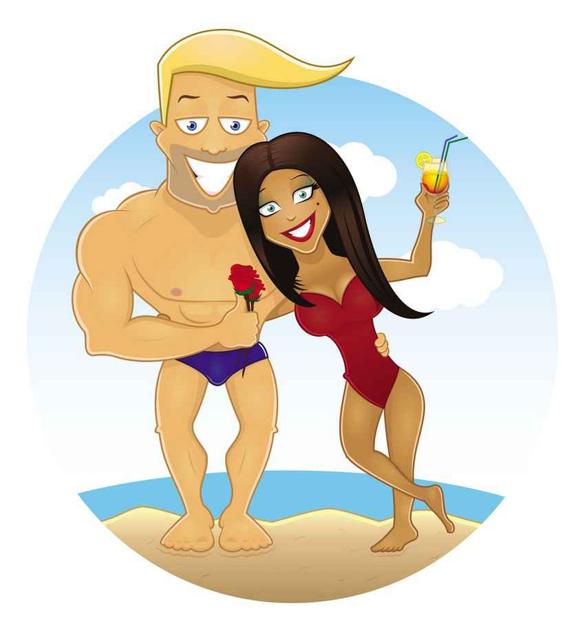 A muscular man with a hot woman standing on the beach with roses in his hand and a cocktail in hers.