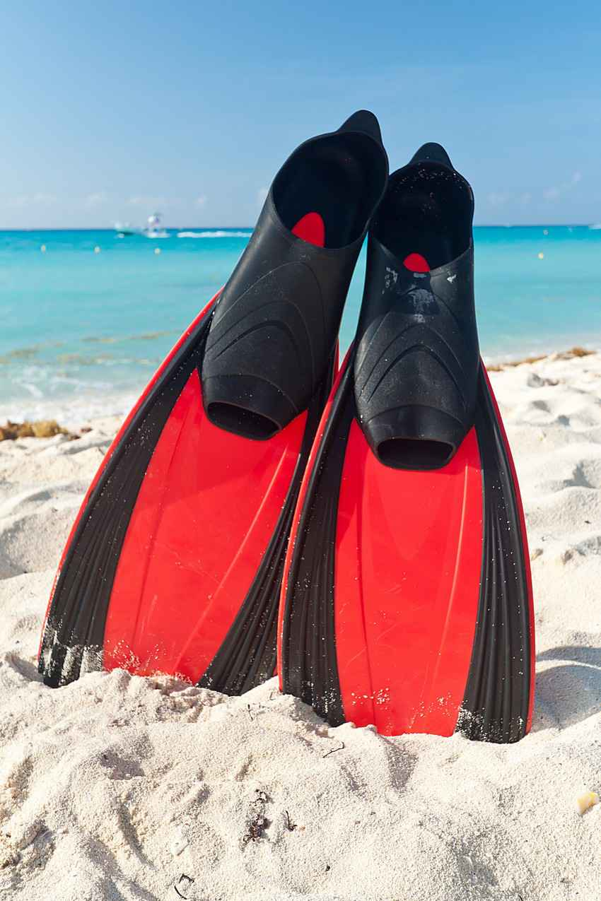 A pair of red and black snorkeling or diving fins are lying on the beach.