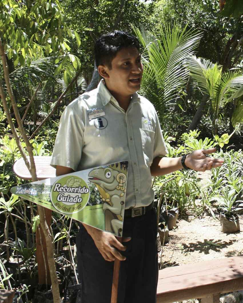 A guide giving a tour of the Xel-Ha themepark.