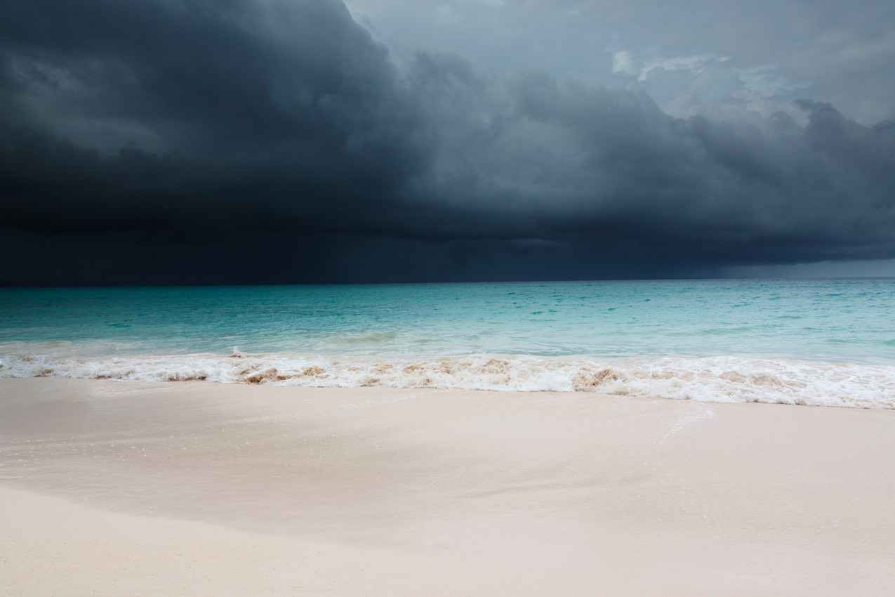 Dark and ominous skies visible near the Playa Del Carmen beach.