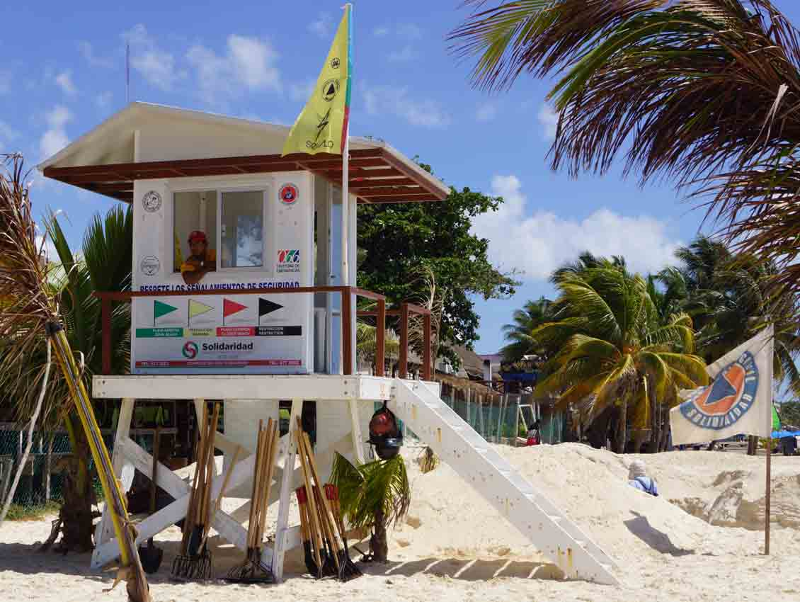 A lifeguard station along the beach in Playa Del Carmen.