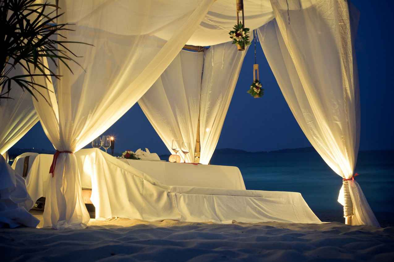 A candlelit canopy dinner on the beach in Playa Del Carmen.