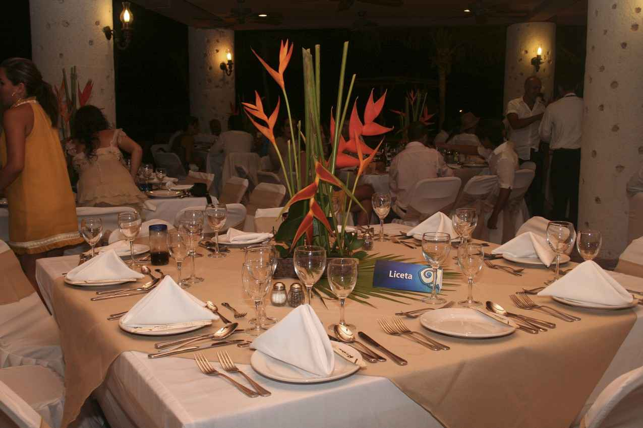 Wedding party festivities and dinner at a Playa Del Carmen resort.