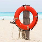 poll-small-lifesaver-on-beach-near-sea