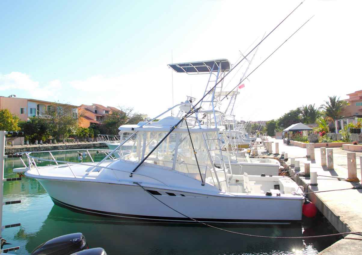 A number of midsized fishing boats lined up in the Puerto Aventuras marina.