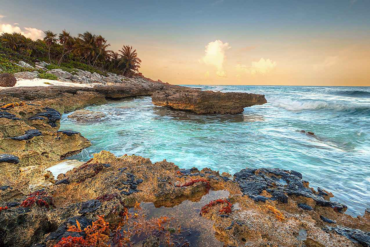 A rocky bay in the Caribbean Sea.