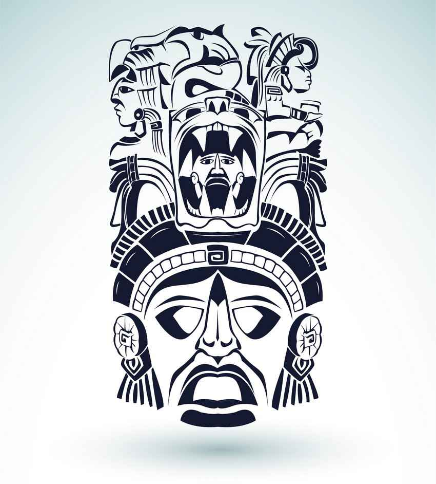 Mayan mask and headdress graphic.