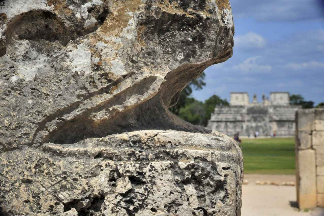 A snake head statue at the foot of a pyramid in the Riviera Maya.