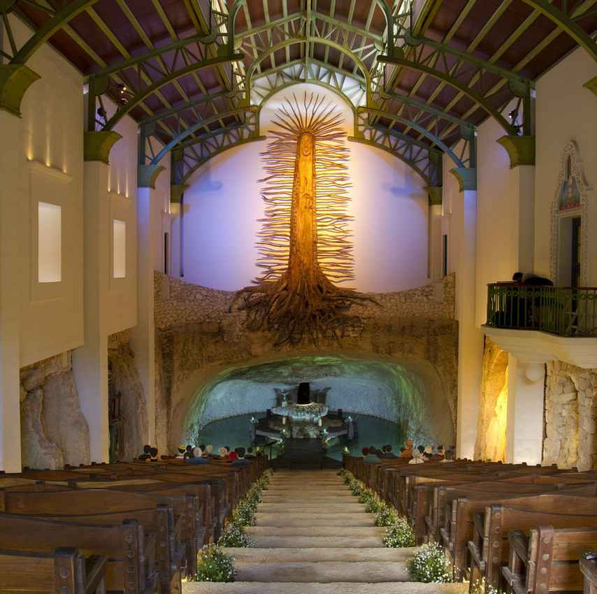 The church and wedding Chapel inside the Xcaret theme park.
