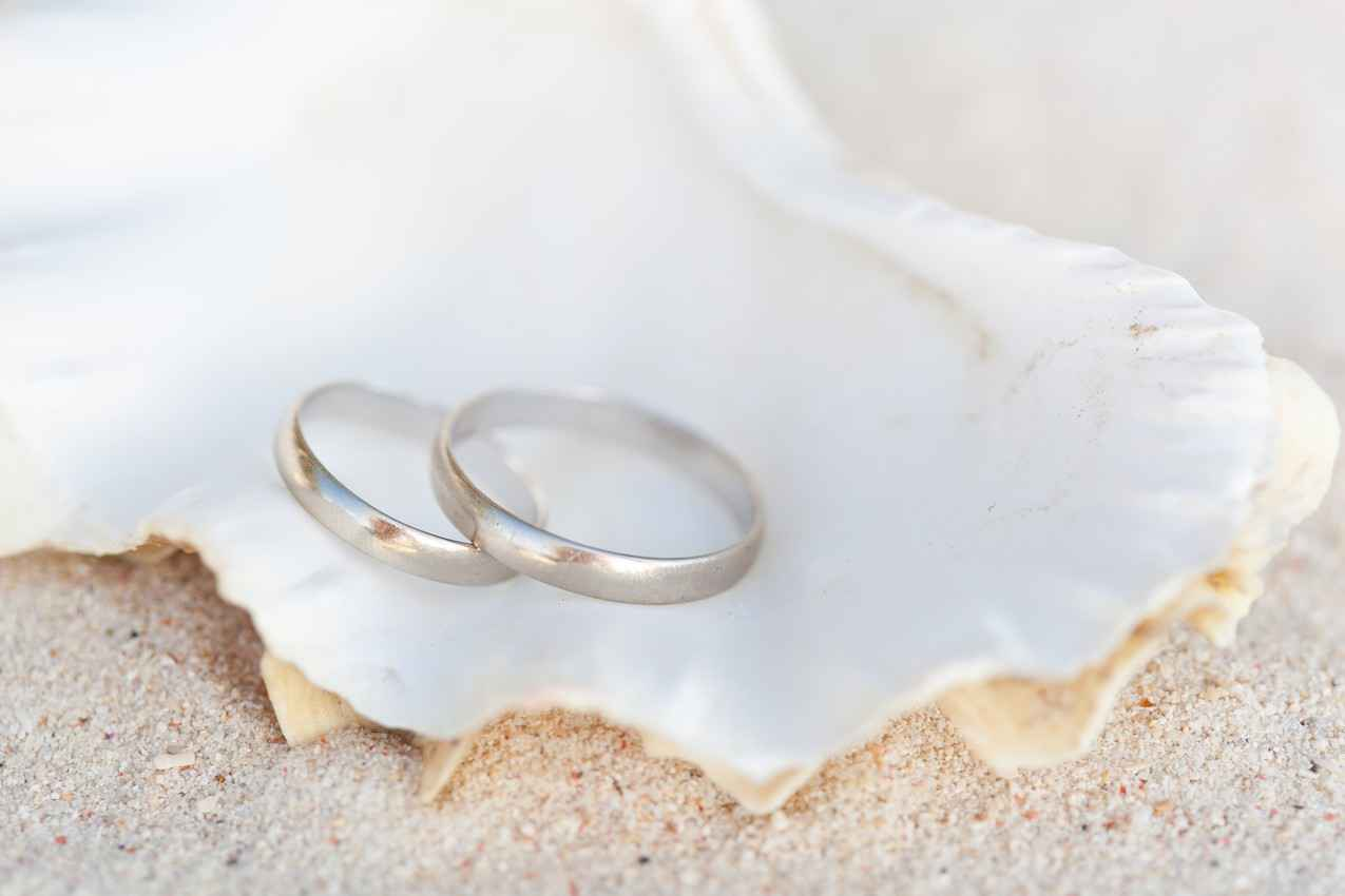 Two wedding rings resting in a seashell on the beach.