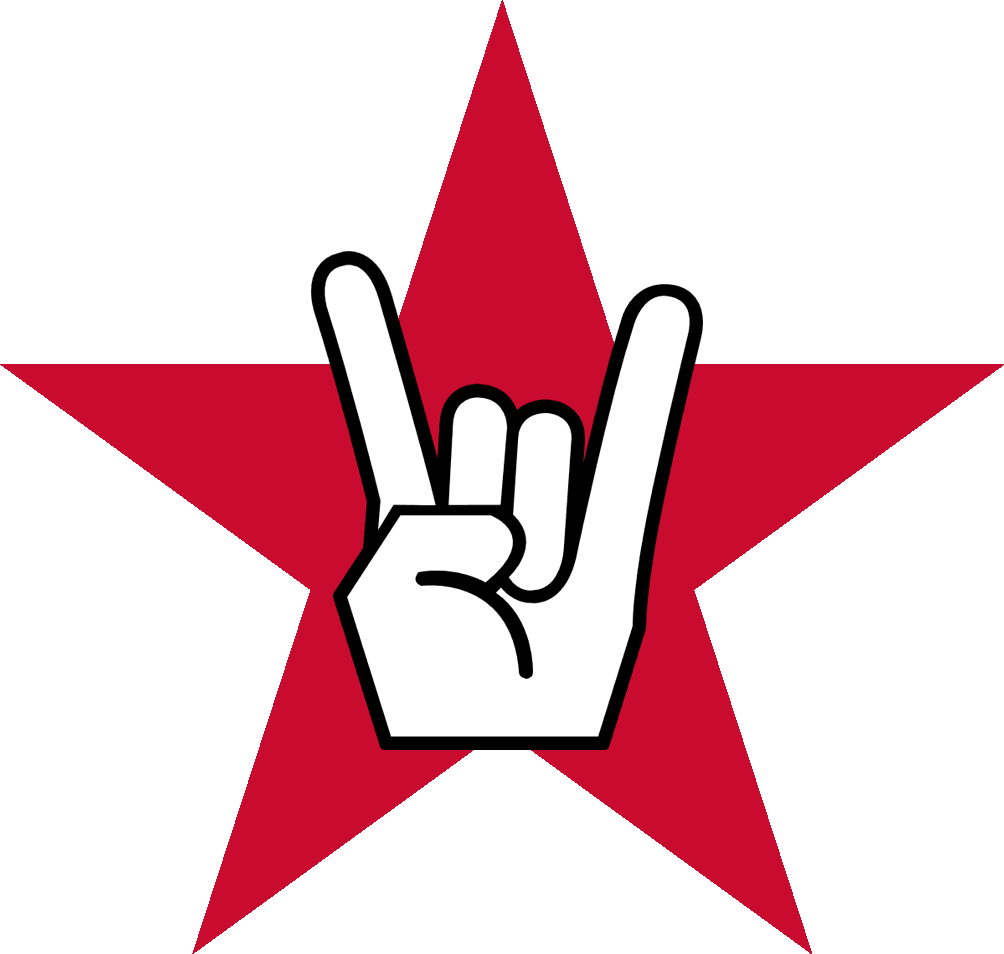 Rock star logo that includes hand and star.