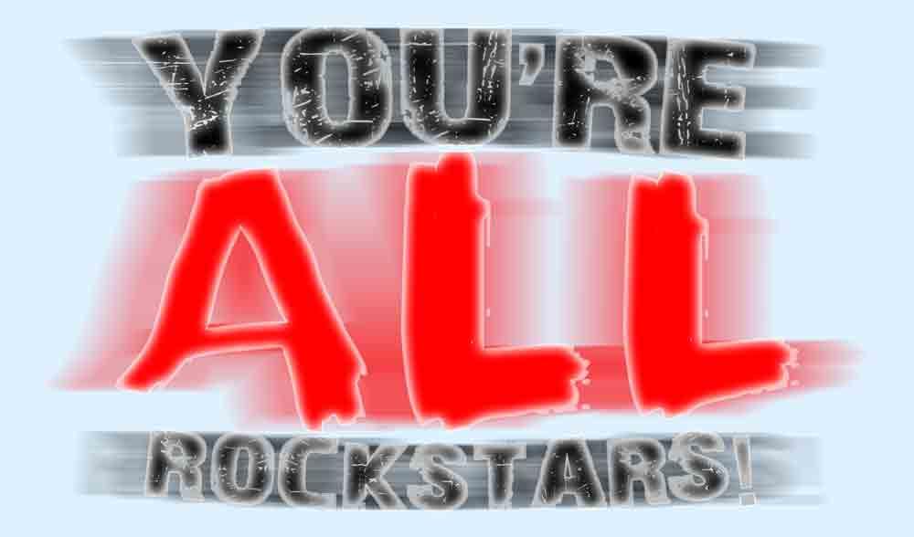 You're All Rockstars blurred text