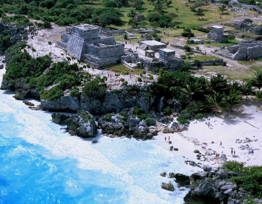 An aerial view of the Tululm ruins and the Tulum beach.