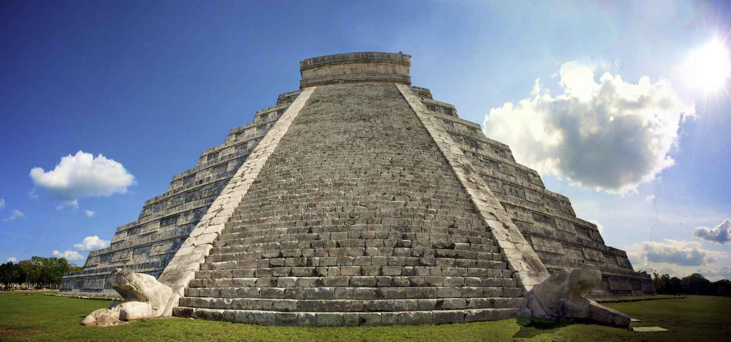 A close-up view of one of the large pyramids in the Chichen Itza Park.