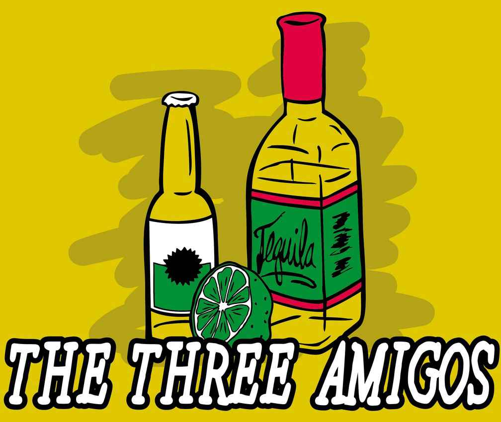 The three amigos-beer, tequila, and a lime.