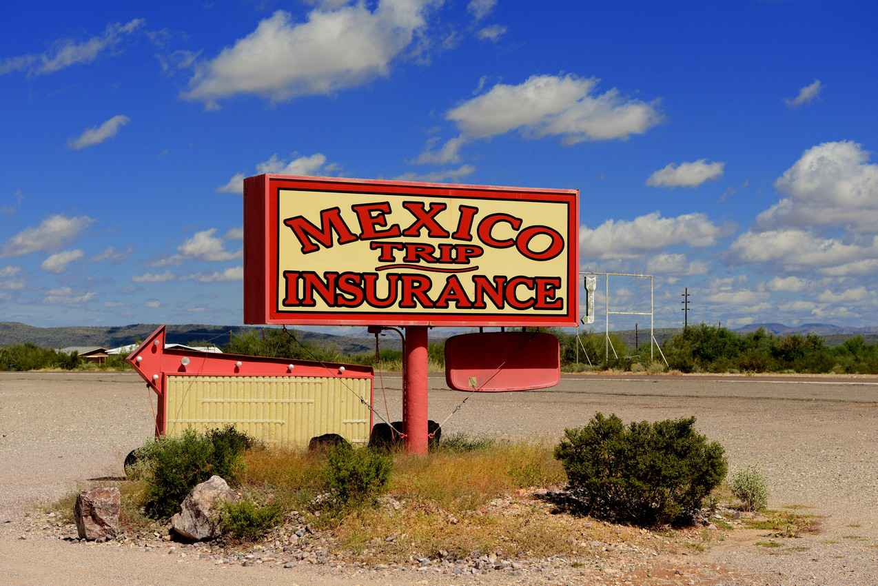A Mexican trip insurance sign.