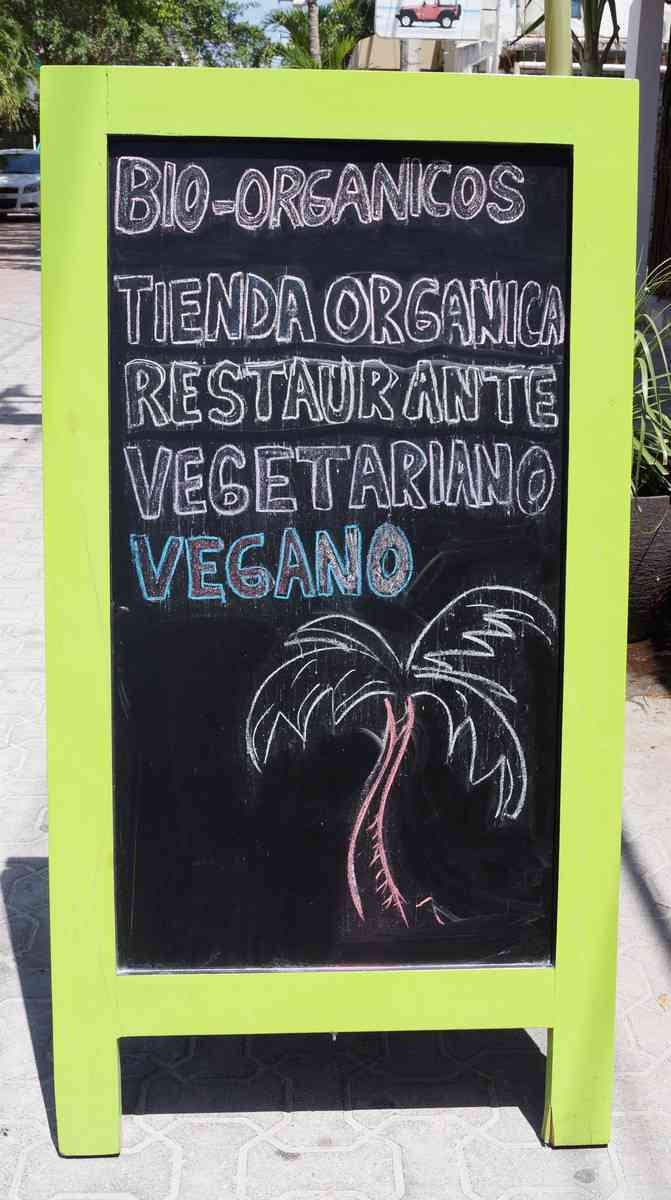 Bio-Organicos vegetarian sign outside of restaurant.