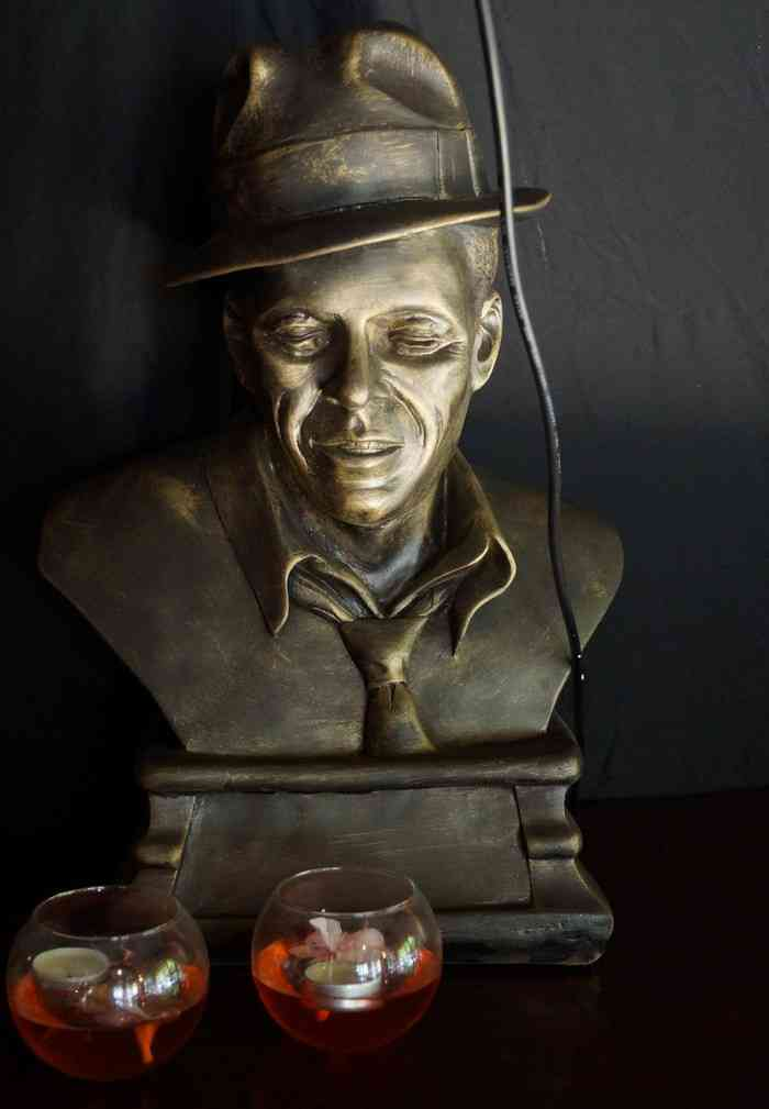 A bust of Lucky Luciano, the Italian gangster, at the Lucky Luciano pizza restaurant in Playa Del Carmen.