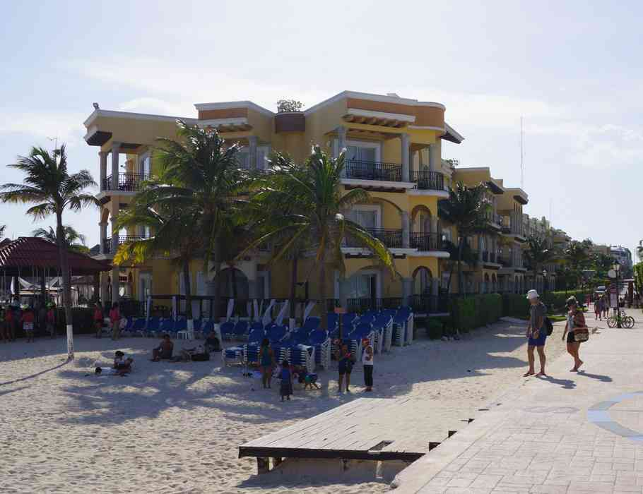 An example of the type of condominiums along the beach in Playa Del Carmen.