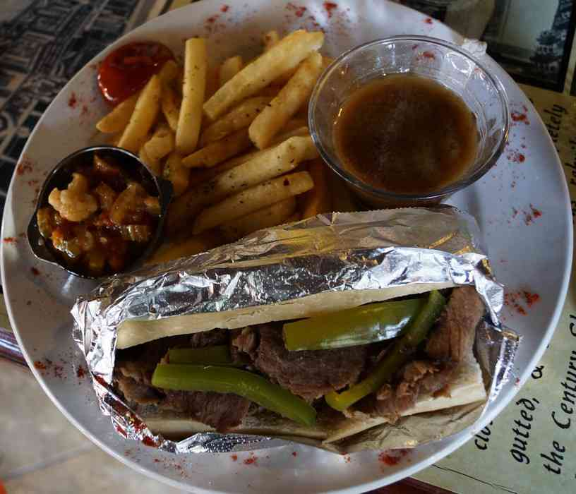 A delicious Philly steak sandwich in Chicago Beef restaurant in Playa Del Carmen.