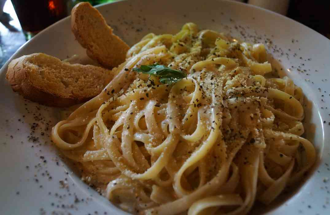 Fettuccine Alfredo served at the Chicago beef restaurant in Playa Del Carmen.