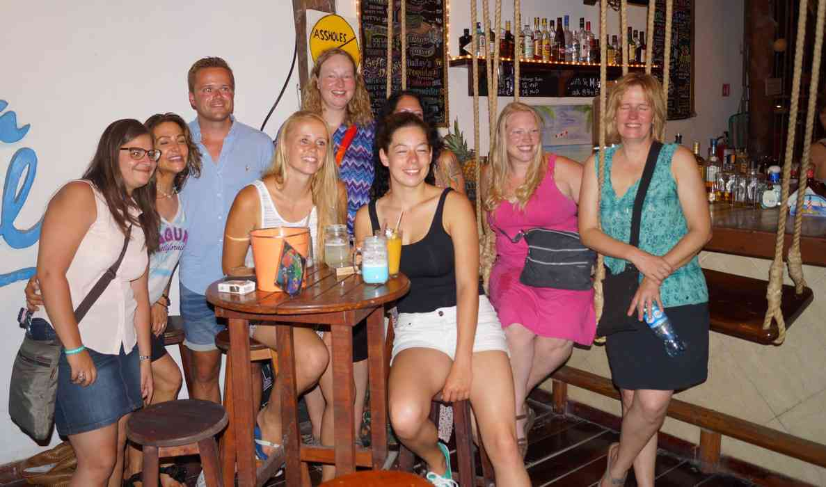 A group of students studying Spanish at a local school who were falling asleep at the Luna Blue Hotel bar.