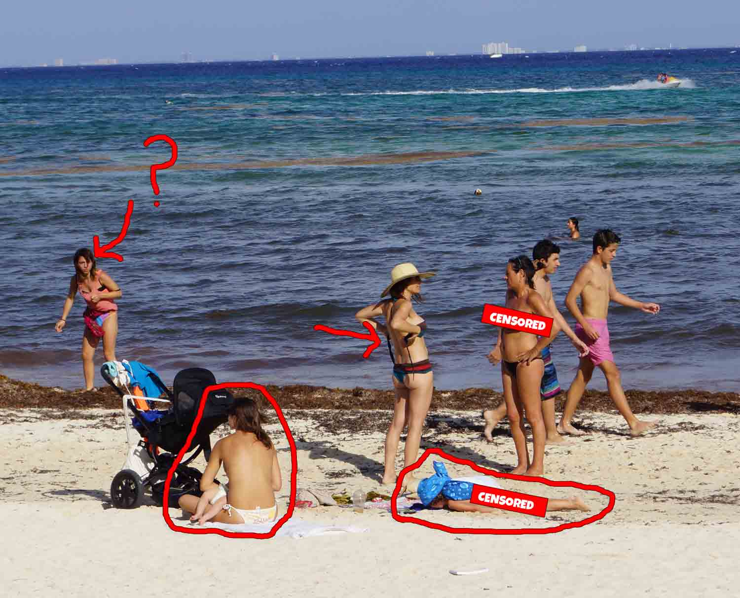 A group of women taking off their tops at a Playa Del Carmen beach.