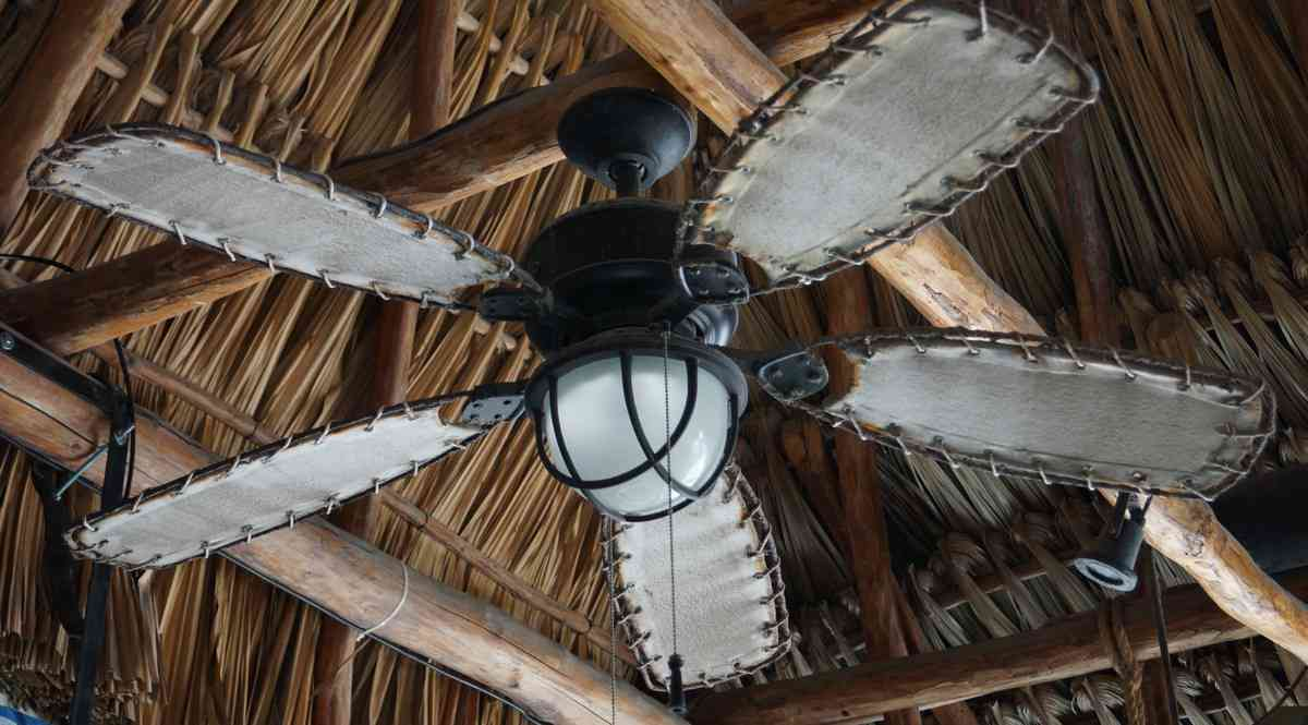 An interesting ceiling fan hanging inside the Luna Blue Hotel bar.