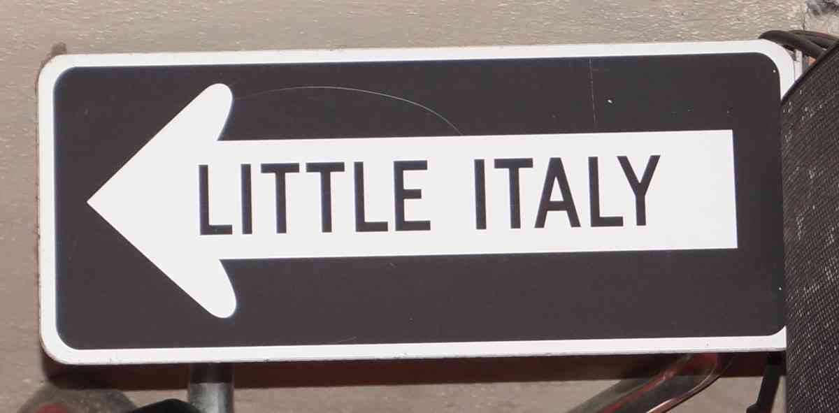 A Little Italy sign at the Lucky Luciano pizza restaurant In Playa Del Carmen.