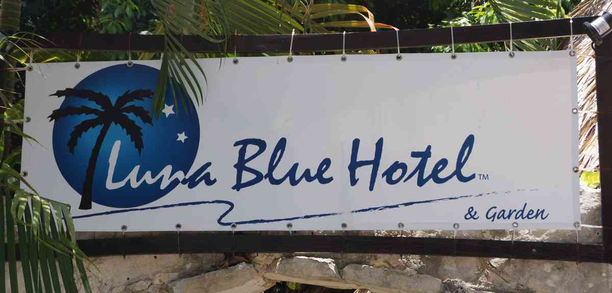 The sign outside Luna Blue Hotel In Playa Del Carmen.