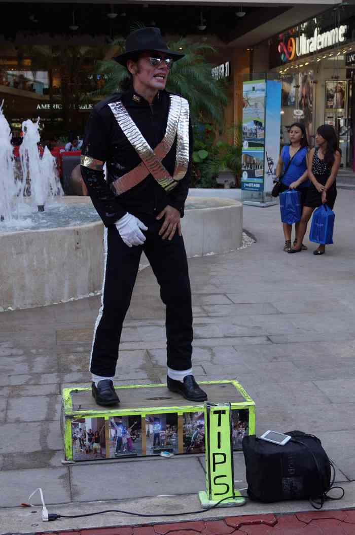 A Michael Jackson impersonator on Fifth Avenue in Playa Del Carmen.