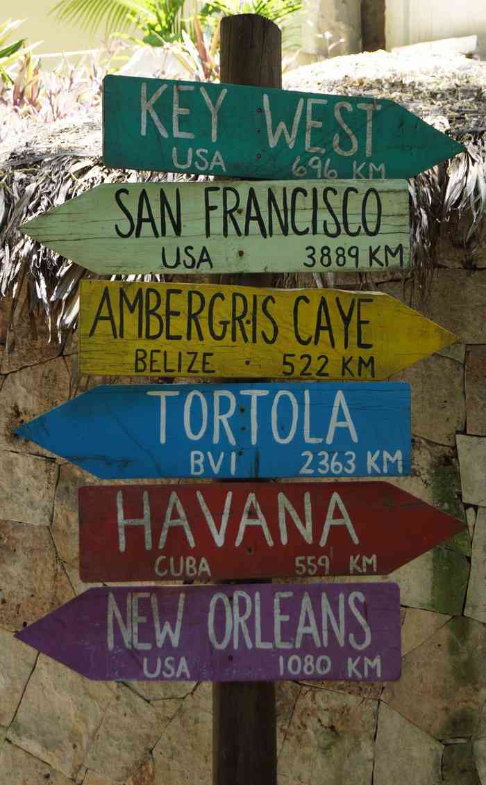 A painted wooden sign that shows the distances between Playa Del Carmen and popular tourist destinations around the world.