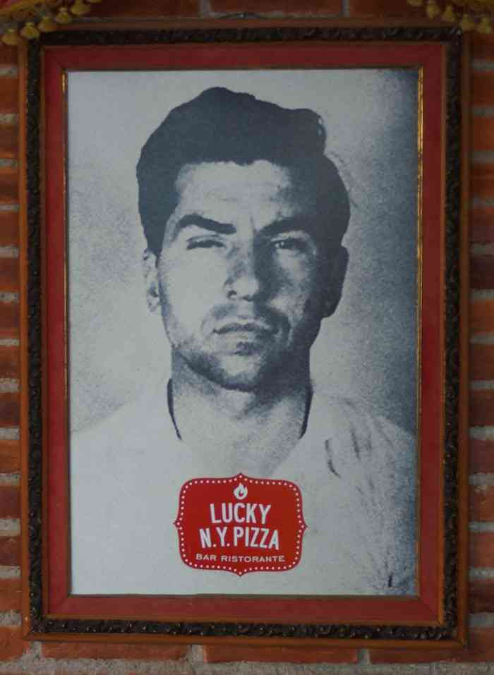 A picture of Lucky Luciano at the pizza restaurant named after him.