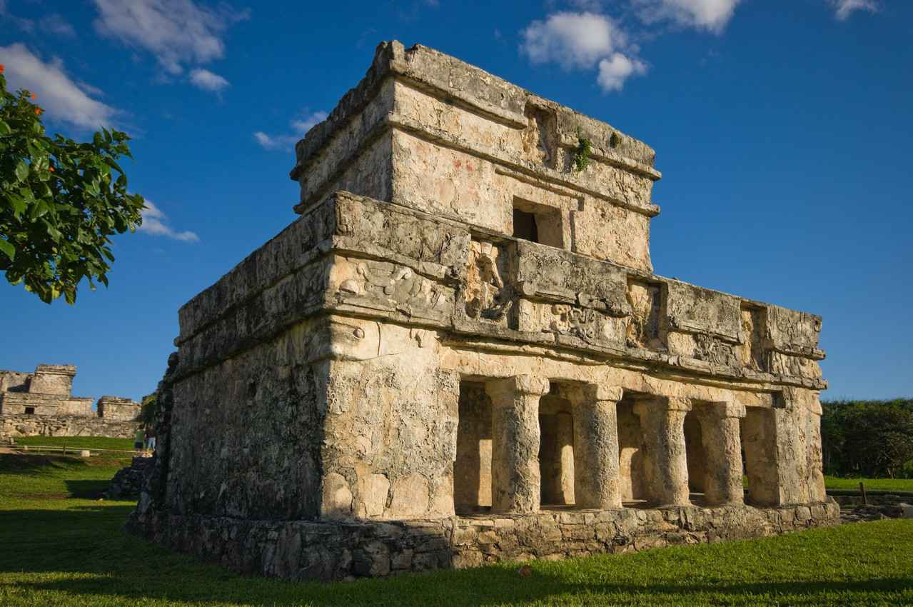 An ancient Mayan structure at the Tulum ruins.