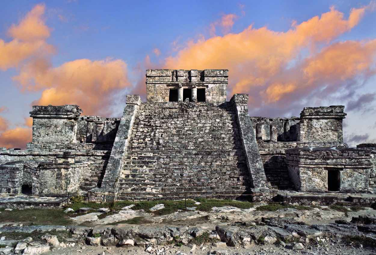A front view of an ancient Mayan pyramid in Tulum.