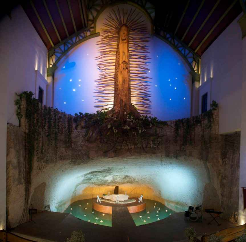A symbolic Mayan tree inside of the church at Xcaret.