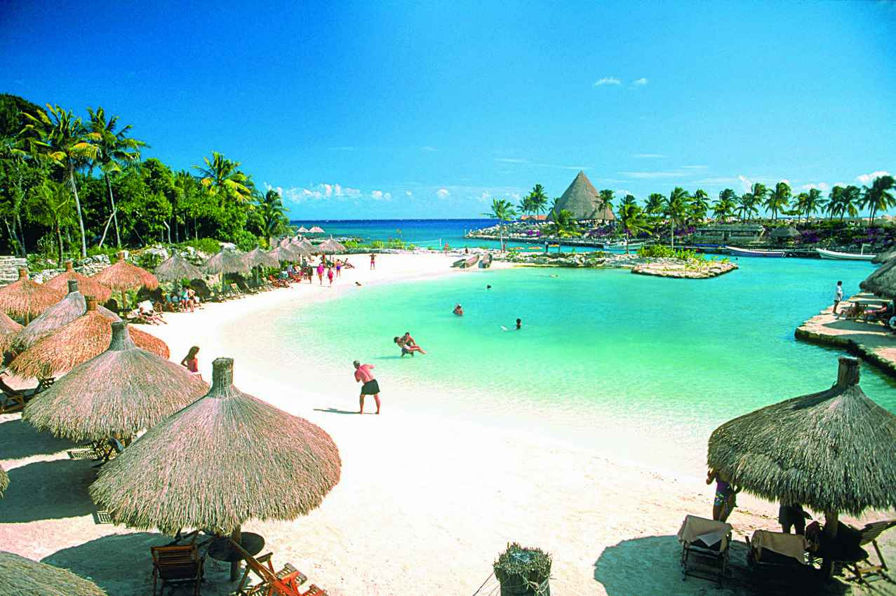 The famous Xcaret beach area.