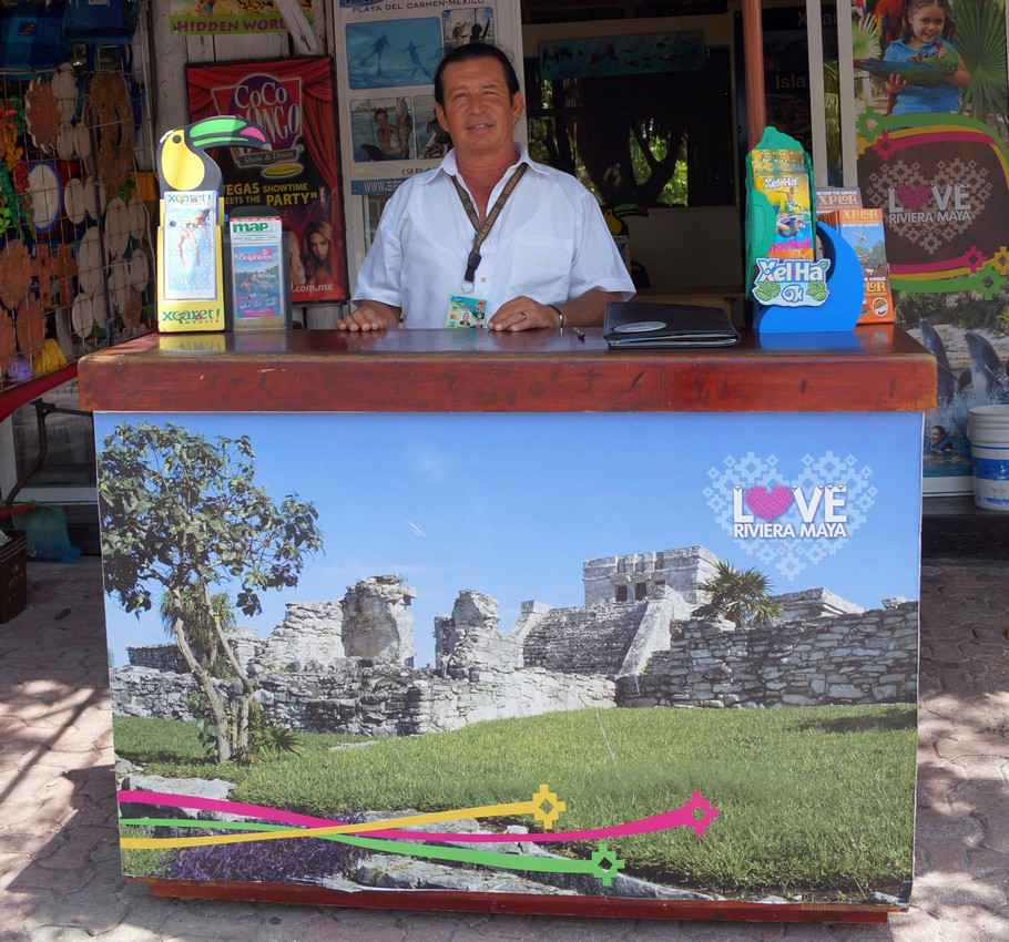 A tourist kiosk selling theme Park tickets.