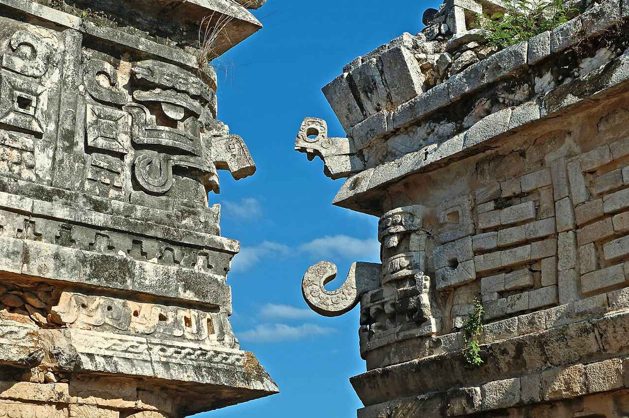 An example of the amazing Mayan art work on the side of some ancient ruins.