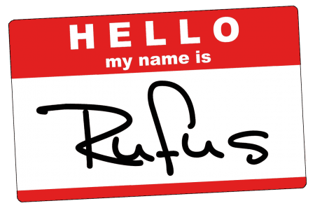 HELLO MY NAME IS Rufus name tag.