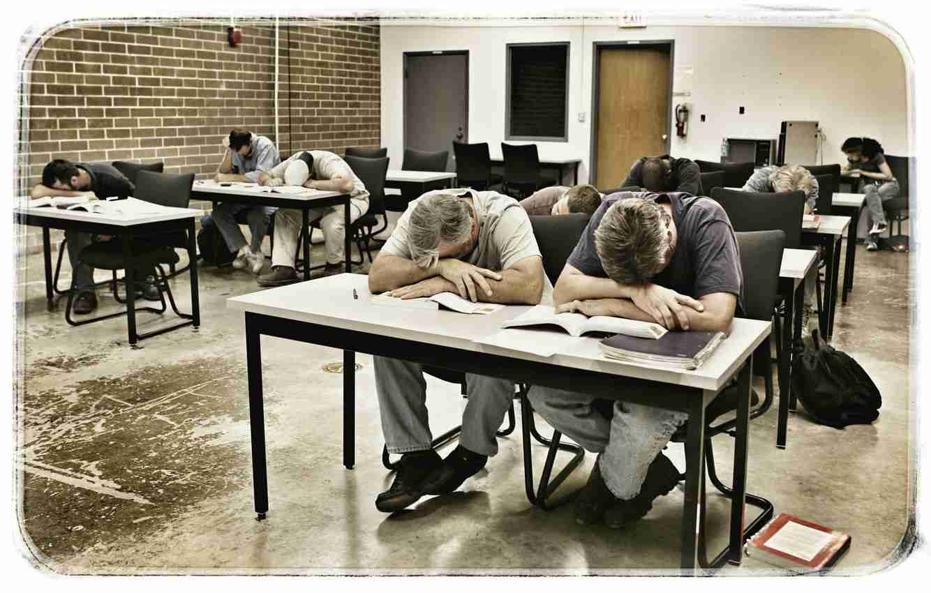A classroom full of students sleeping during a law school class.
