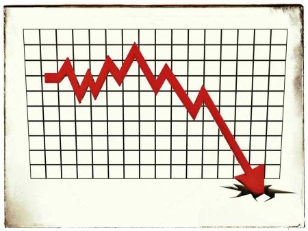 A line chart that shows an arrow crashing to the bottom of the chart.