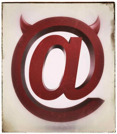 "The e-mail ""@"" symbol with small devil horns."