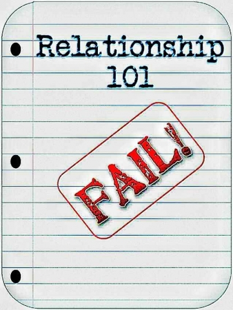 Relationship 101 FAIL written on a notebook.