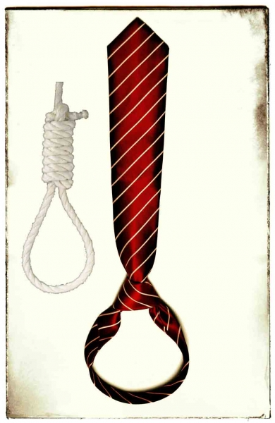A tie hanging upside down next to a noose for comparison.