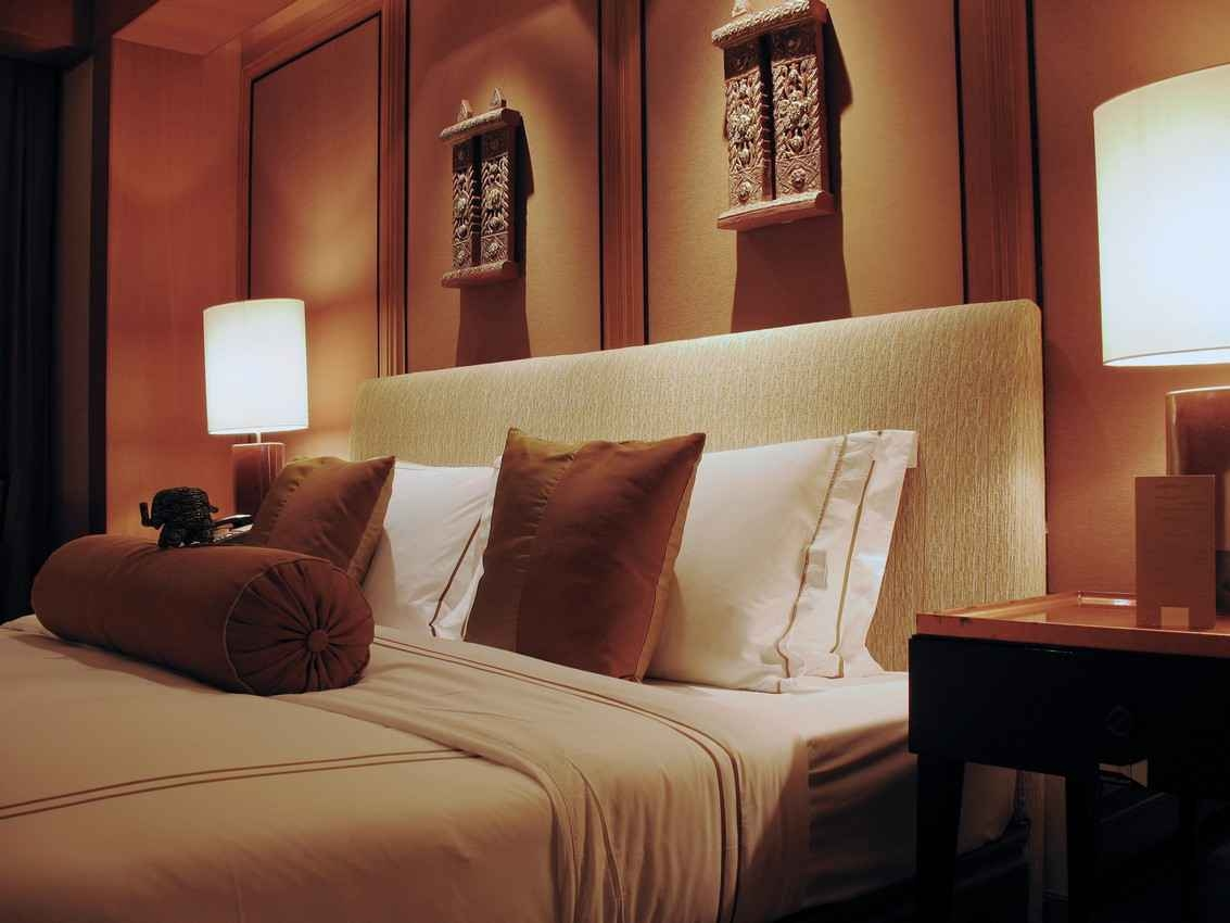 A decorative and luxurious hotel room.